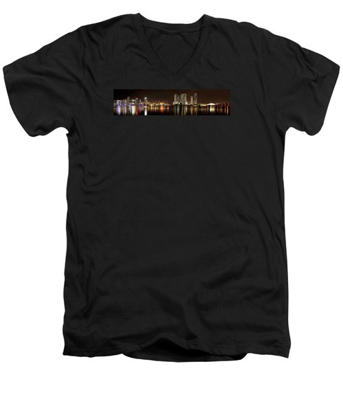 Miami - Skyline Panorama Men's V-Neck T-Shirt by Brendan Reals