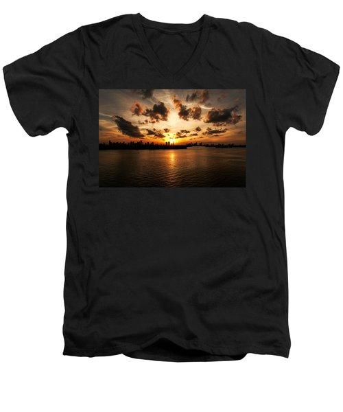 Miami Skyline Sunset Men's V-Neck T-Shirt