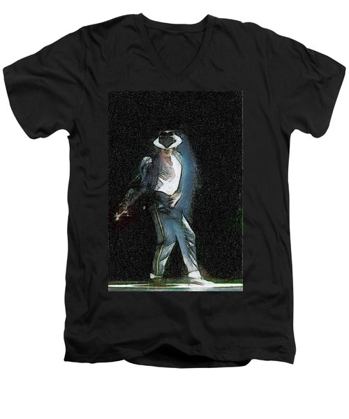 Michael Jackson Men's V-Neck T-Shirt by Georgi Dimitrov