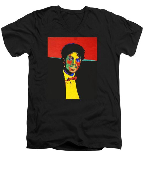 Michael Jackson Men's V-Neck T-Shirt by Stormm Bradshaw