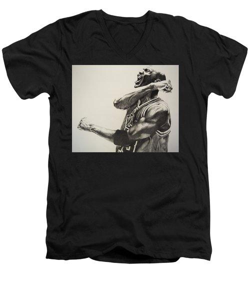Michael Jordan Men's V-Neck T-Shirt by Jake Stapleton