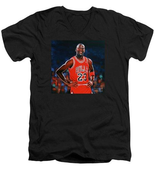 Michael Jordan Men's V-Neck T-Shirt by Paul Meijering