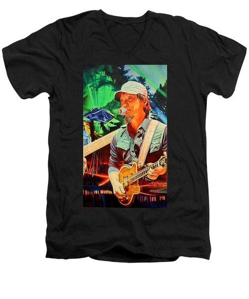 Men's V-Neck T-Shirt featuring the painting Michael Kang At Horning's Hideout by Joshua Morton