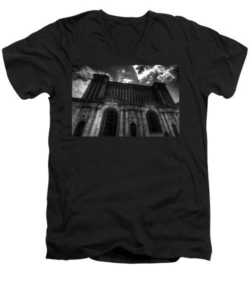 Michigan Central Station Highrise Men's V-Neck T-Shirt by Jonathan Davison
