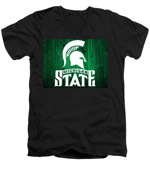 Michigan State Barn Door Men's V-Neck T-Shirt by Dan Sproul