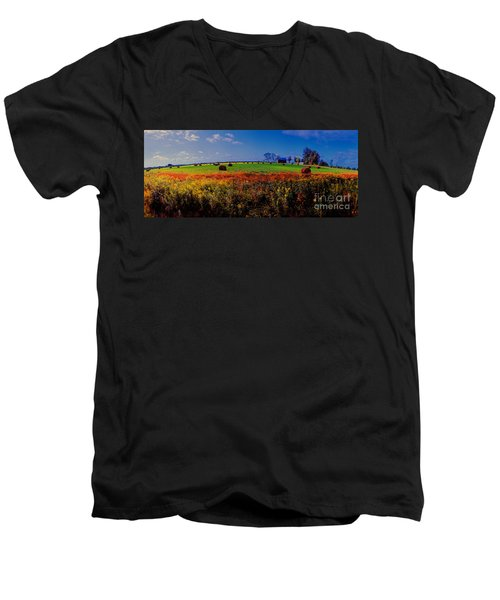 Michigan Uper  Farm Barn And Rolls Of Hay Brimly Michigan Men's V-Neck T-Shirt