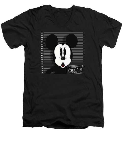 Mickey Mouse Disney Mug Shot Men's V-Neck T-Shirt by Tony Rubino