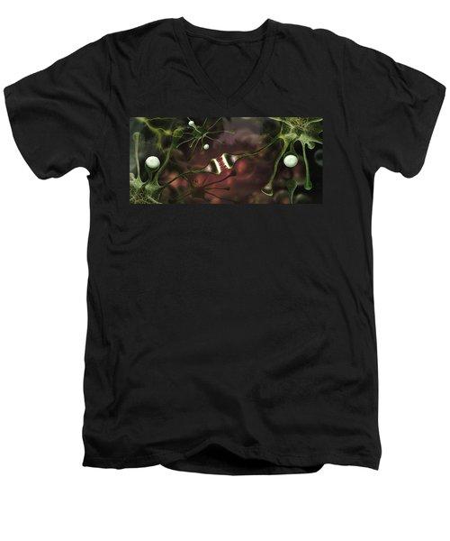 Microscopic Image Of Brain Neurons Men's V-Neck T-Shirt