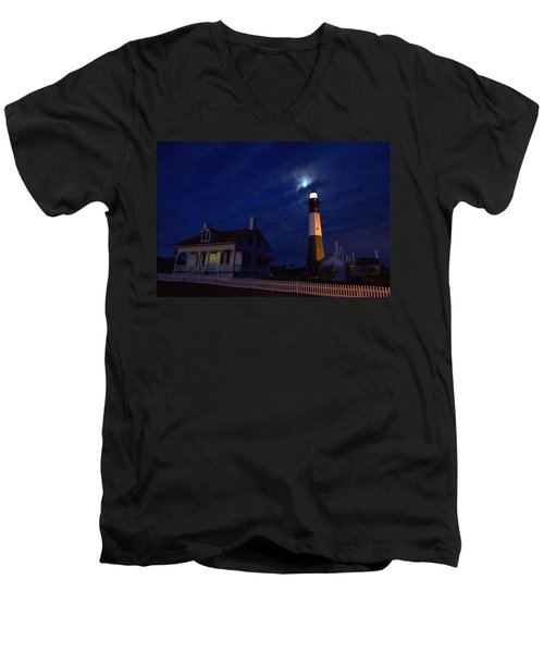 Midnight Moon Over Tybee Island Men's V-Neck T-Shirt