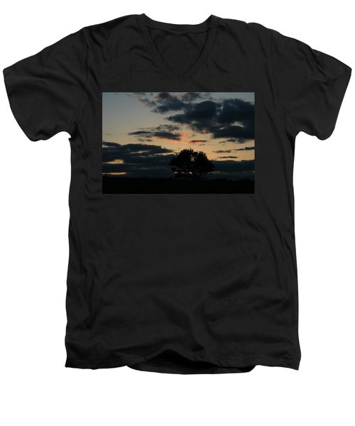 Men's V-Neck T-Shirt featuring the photograph Farm Pasture Midnight Sun  by Neal Eslinger