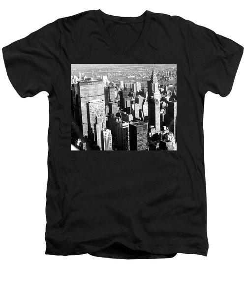 Midtown Manhattan 1972 Men's V-Neck T-Shirt by Steve Archbold