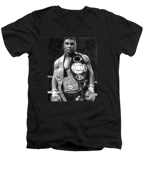 Mike Tyson Pencil Drawing Men's V-Neck T-Shirt