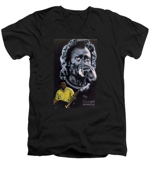 Men's V-Neck T-Shirt featuring the painting More Miles Of Davis by Thomas J Herring