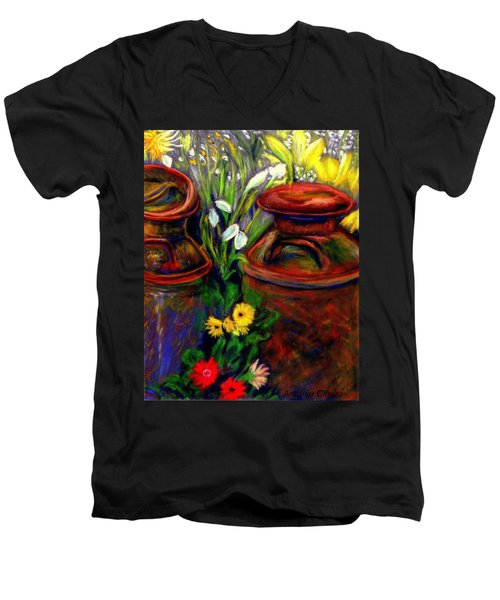 Milk Cans At Flower Show Sold Men's V-Neck T-Shirt by Antonia Citrino