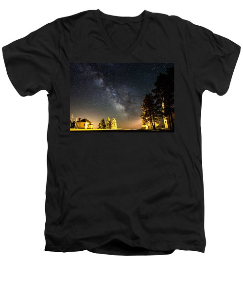 Milky Way From Oldham South Dakota Usa Men's V-Neck T-Shirt