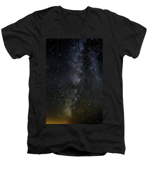 Milky Way Men's V-Neck T-Shirt by Marlo Horne