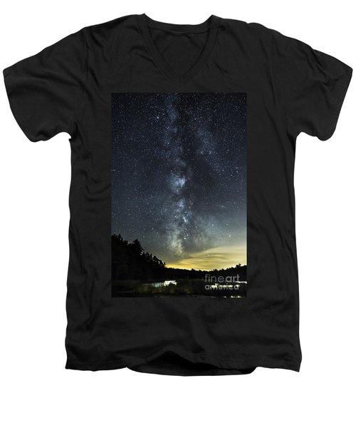 Milky Way Over Beaver Pond In Phippsburg Maine 2 Men's V-Neck T-Shirt