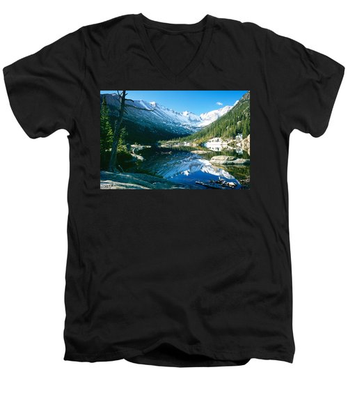 Mills Lake Men's V-Neck T-Shirt by Eric Glaser