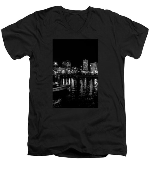 Milwaukee Downtown Third Ward Men's V-Neck T-Shirt by Susan  McMenamin