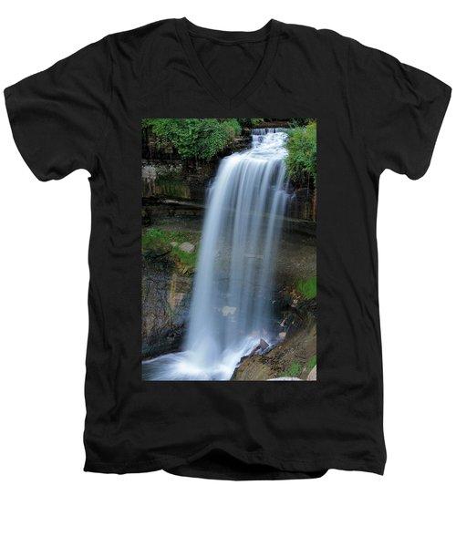 Minnehaha Falls Men's V-Neck T-Shirt by Kristin Elmquist
