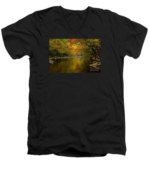 Men's V-Neck T-Shirt featuring the photograph Mirror Fall Stream In The Mountains by Debbie Green