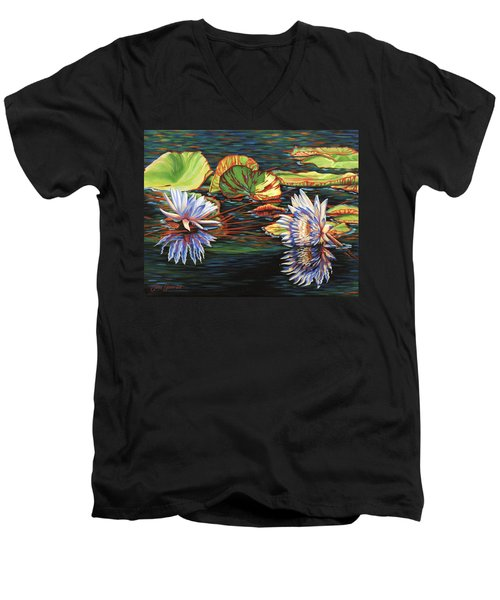 Mirrored Lilies Men's V-Neck T-Shirt by Jane Girardot