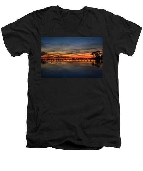Men's V-Neck T-Shirt featuring the photograph Mirrored Sunset Colors On Santa Rosa Sound by Jeff at JSJ Photography