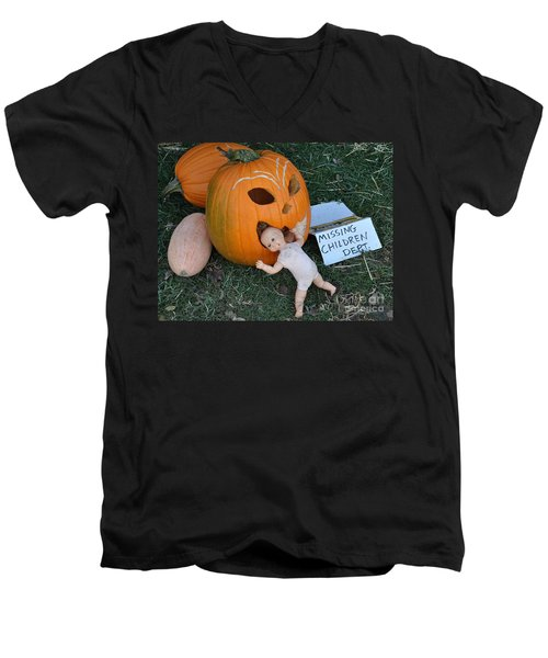 Men's V-Neck T-Shirt featuring the photograph Missing Children Department by Minnie Lippiatt