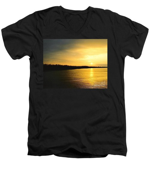 Men's V-Neck T-Shirt featuring the photograph Sunrise Over The Mississippi River Post Hurricane Katrina Chalmette Louisiana Usa by Michael Hoard