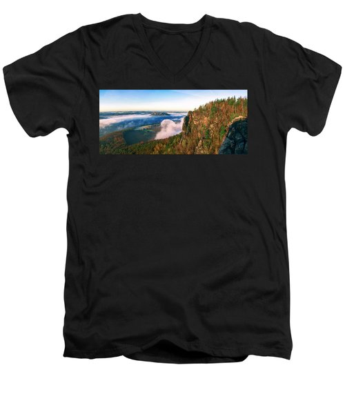 Mist Flow Around The Fortress Koenigstein Men's V-Neck T-Shirt