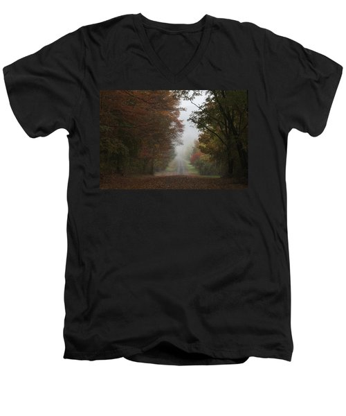 Misty Fall Morning Men's V-Neck T-Shirt