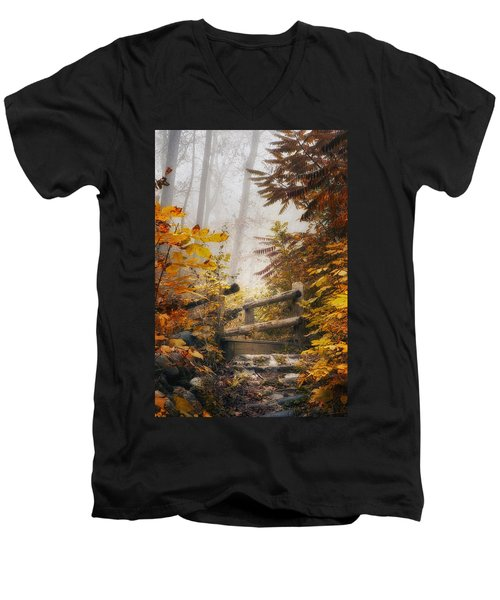 Misty Footbridge Men's V-Neck T-Shirt