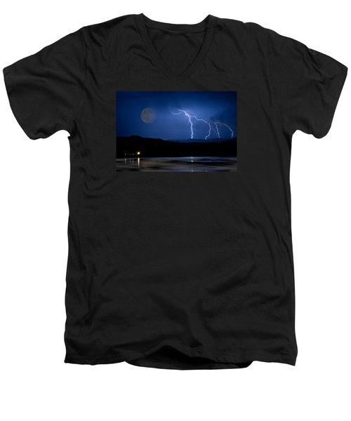 Misty Lake Full Moon Lightning Storm Fine Art Photo Men's V-Neck T-Shirt