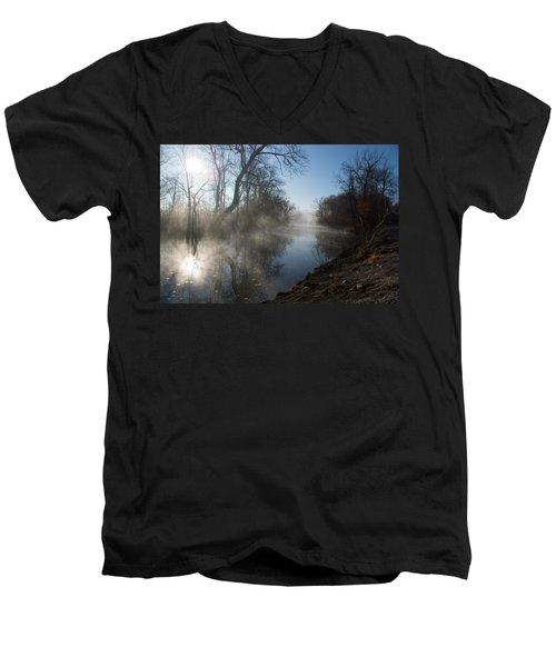 Misty Morning Along James River Men's V-Neck T-Shirt