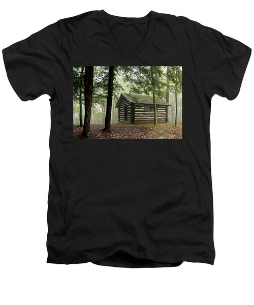 Men's V-Neck T-Shirt featuring the photograph Misty Morning Cabin by Suzanne Stout