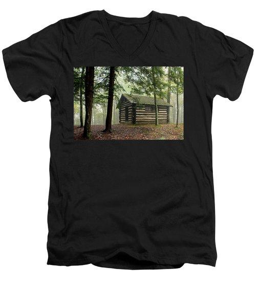 Misty Morning Cabin Men's V-Neck T-Shirt