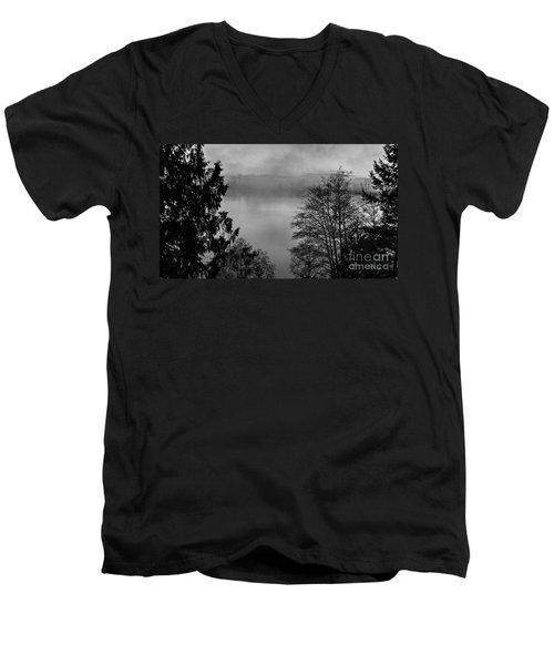 Misty Morning Sunrise Black And White Art Prints Men's V-Neck T-Shirt by Valerie Garner