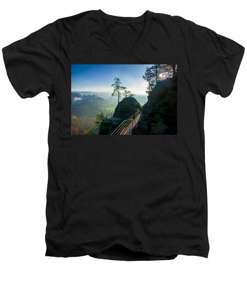 Misty Sunrise On Neurathen Castle Men's V-Neck T-Shirt