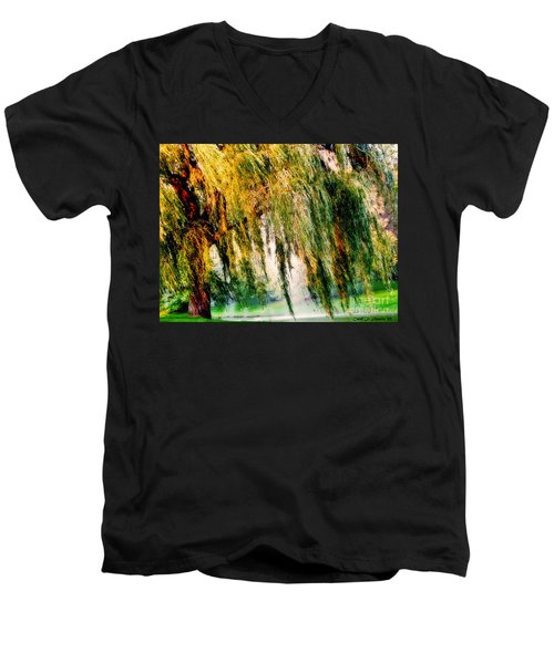 Misty Weeping Willow Tree Dreams Men's V-Neck T-Shirt