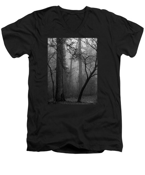 Men's V-Neck T-Shirt featuring the photograph Misty Woods by Rebecca Davis