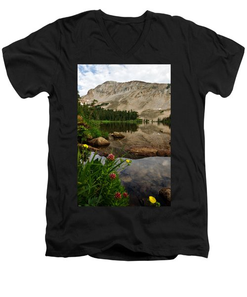 Mitchell Lake Reflections Men's V-Neck T-Shirt by Ronda Kimbrow