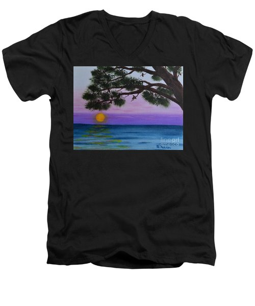 Men's V-Neck T-Shirt featuring the painting Mobile Bay Sunset by Melvin Turner
