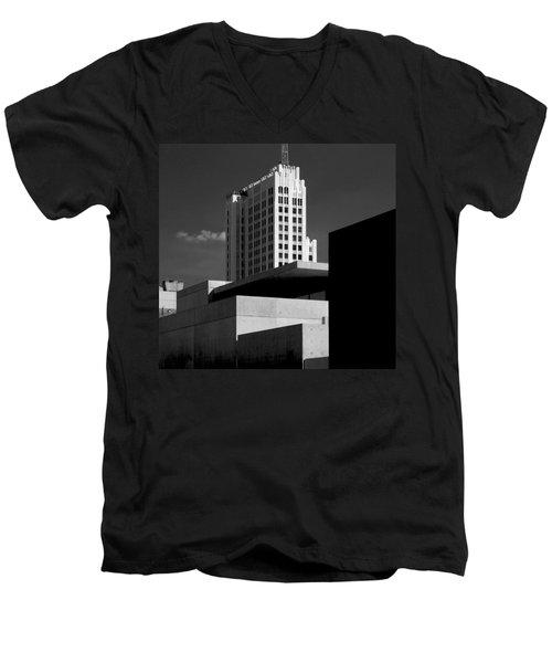 Modern Art Deco Architecture Black White Men's V-Neck T-Shirt