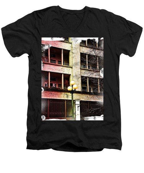 Men's V-Neck T-Shirt featuring the digital art Modern Grungy City Building  by Valerie Garner