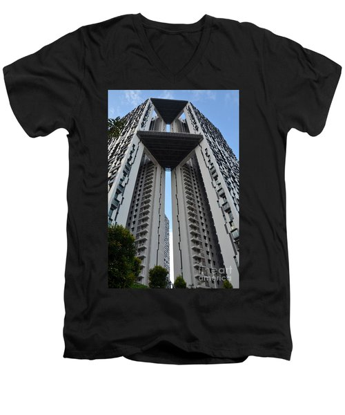 Men's V-Neck T-Shirt featuring the photograph Modern Skyscraper Apartment Building Singapore by Imran Ahmed