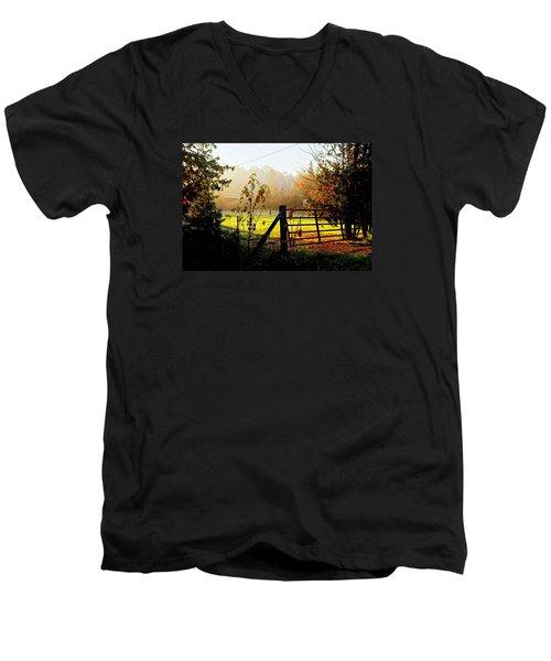 Men's V-Neck T-Shirt featuring the photograph Moffit Bridge  by Daniel Thompson