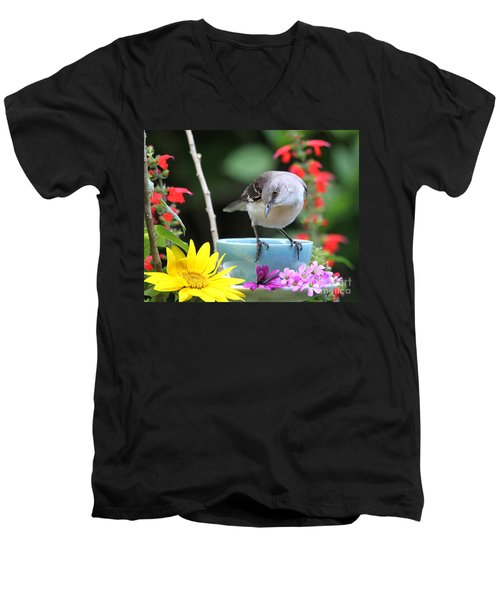 Men's V-Neck T-Shirt featuring the photograph  Mockingbird And Teacup Photo by Luana K Perez