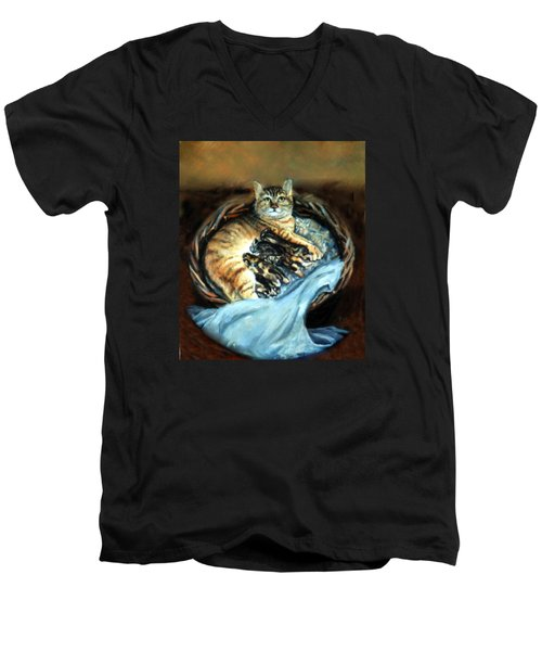 Men's V-Neck T-Shirt featuring the painting Mom With Her Kittens by Donna Tucker