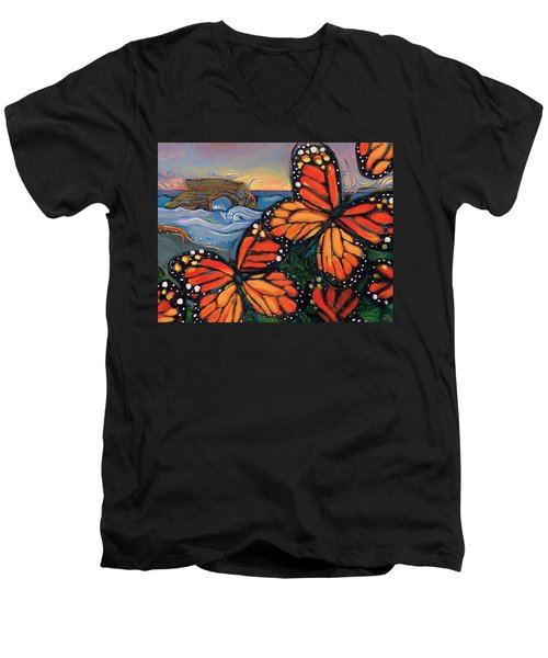 Monarch Butterflies At Natural Bridges Men's V-Neck T-Shirt