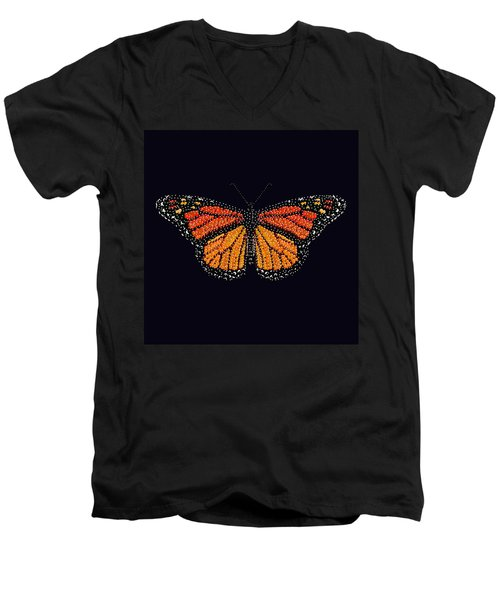 Monarch Butterfly Bedazzled Men's V-Neck T-Shirt